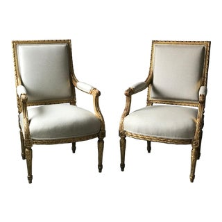 1920s French Louis XVI Giltwood Arm Chairs-A Pair For Sale