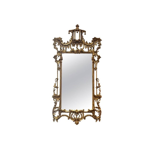 Glass Carved Chinese Chippendale Gold Giltwood Large Pagoda Mirror Made in Italy For Sale - Image 7 of 7