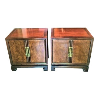 Drexel Burl Wood Chinoiserie Nightstands - a Pair For Sale