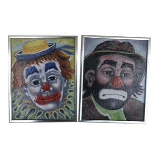 Enamel on Copper Clown Pictures by Dominic Mingolla - a Pair For Sale