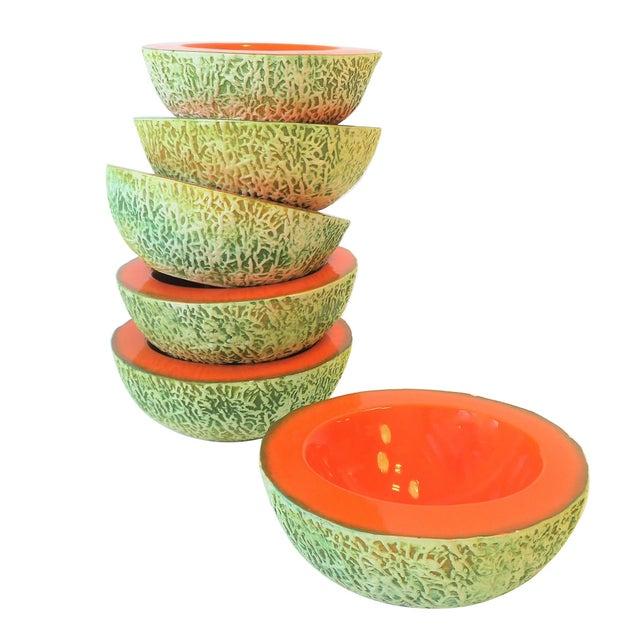 Italian Designer Matte Ceramic Pottery Orange Melon Fruit Sculpture Bowls For Sale - Image 9 of 9
