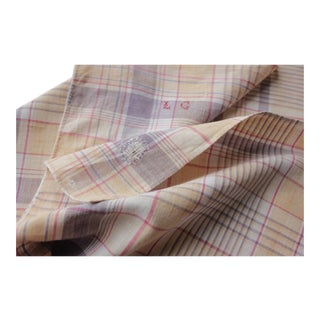 Antique French Plaid Check Napkin Bandana Neckerchief Towel Faded Repaired For Sale
