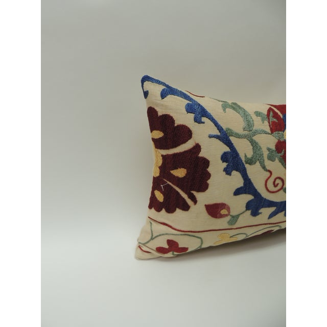 """Asian Vintage Colorful Floral Embroidery """"Suzani"""" Decorative Lumbar Pillow For Sale - Image 3 of 7"""
