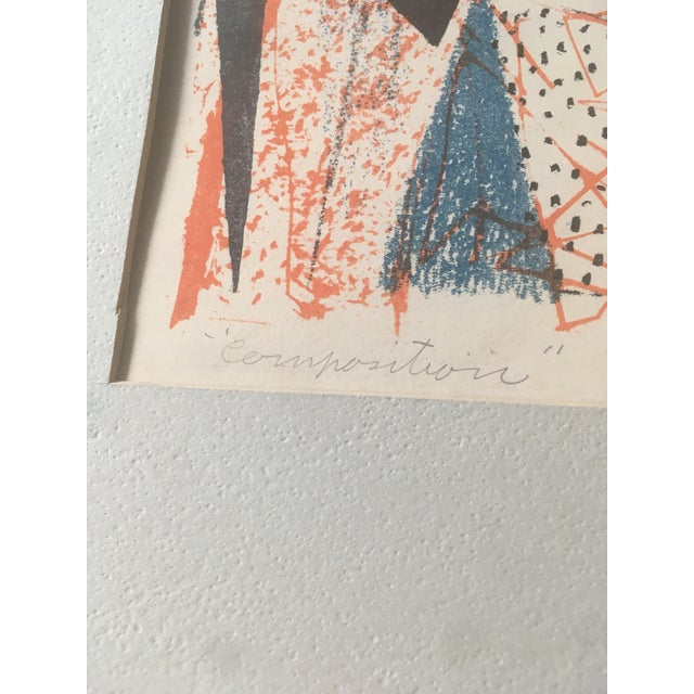 Wood Vintage Mid-Century Richard Zoellner Abstract Woman Flower Lithograph Print For Sale - Image 7 of 13