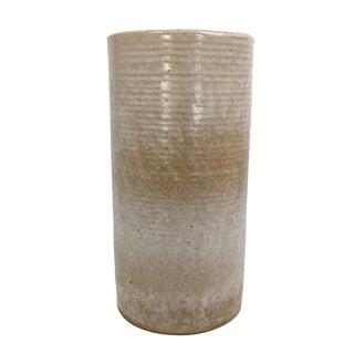 "Zanesville Ribbed ""Homespun"" Cream Pottery Vase For Sale"