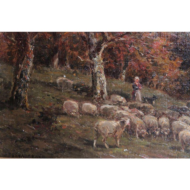 Canvas 19th Century Oil Painting of Sheep Signed James Desvarreux For Sale - Image 7 of 13