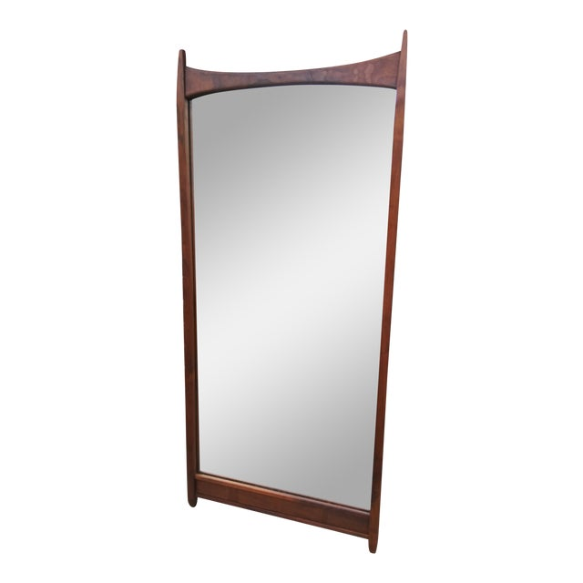 1960s Vintage Merton Gershun for Dillingham Espirit Collection Walnut Wall Mirror For Sale