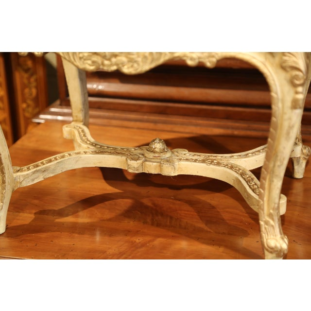19th Century French Louis XV Carved Painted and Gilt Stool with Toile De Jouy For Sale - Image 9 of 10