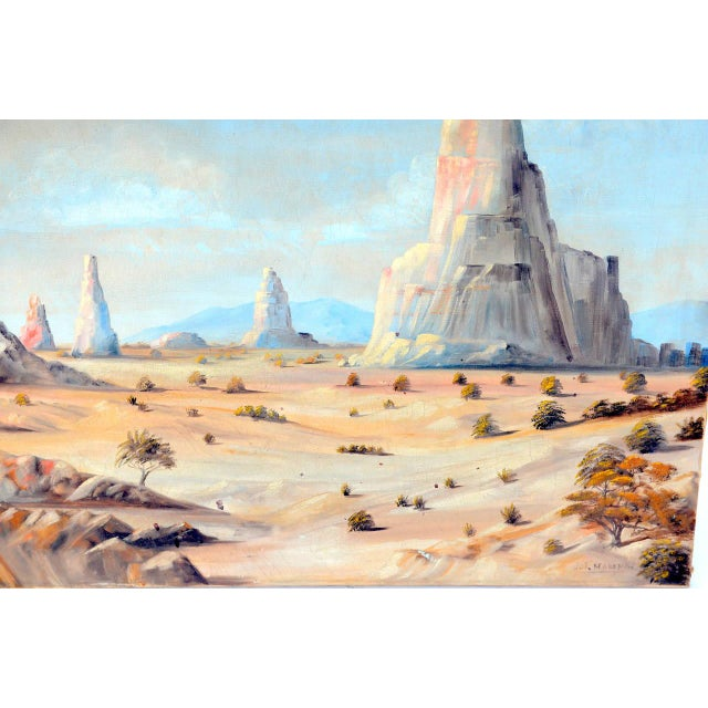 Rustic 1930 Monument Valley Oil on Canvas For Sale - Image 3 of 6