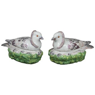 Pair of French Porcelain Dove on Nest Boxes For Sale