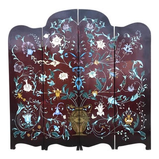 1940's Era Vintage Painted Folding Screen