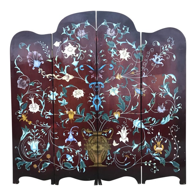 1940's Era Vintage Painted Folding Screen For Sale
