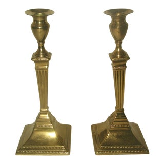 Art Deco Solid Brass Candlesticks - A Pair For Sale