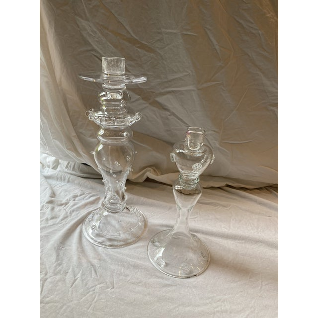 Juliska Hand Blown Crystal Candleholders - a Pair For Sale - Image 9 of 13