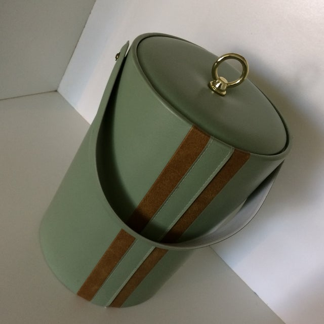 Georges Briard Padded Green and Wood Grain Vinyl Ice Bucket With Ice Tongs For Sale - Image 12 of 13