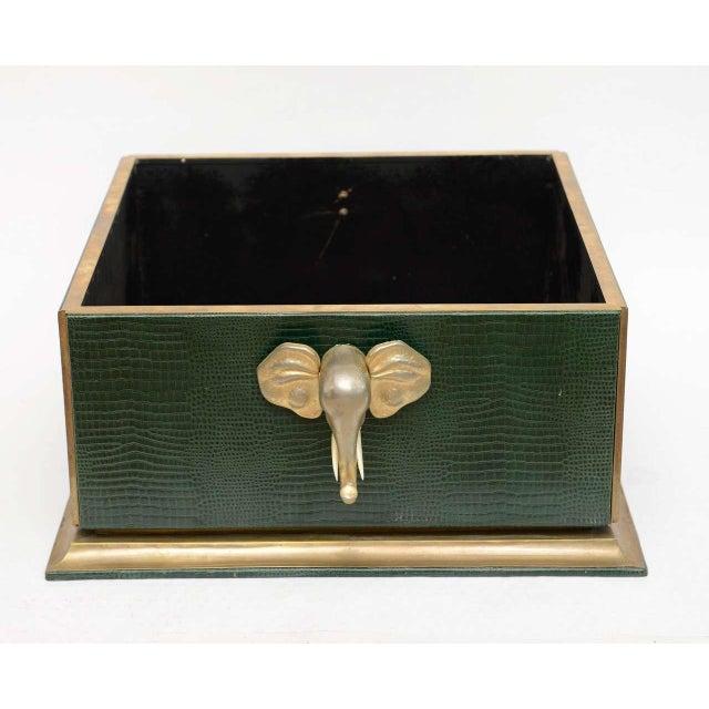 Hollywood Regency Ornamental Emblazoned Brass & Ivory Elephant Box For Sale - Image 3 of 8