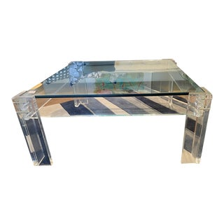 Modern Square Lucite Coffee Table For Sale