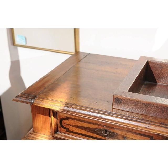 Wood Italian 19th Century Walnut Vanity Buffet with Doors and Raised Diamond Motifs For Sale - Image 7 of 8