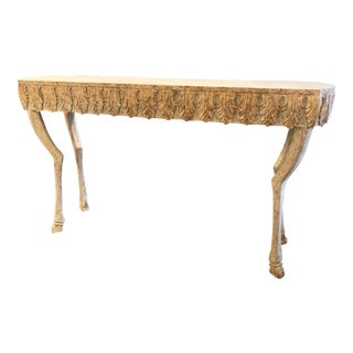 Bliss Studio Distressed White and Gold Finished Stag Leg Console Table For Sale