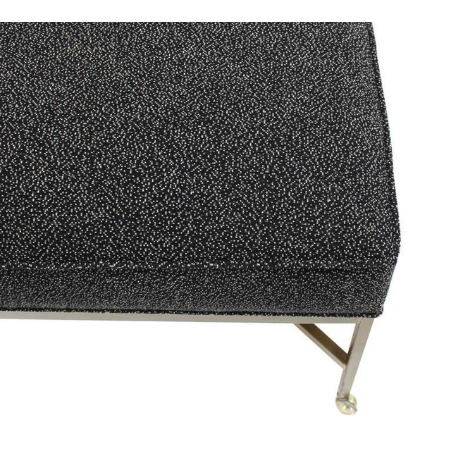 Large Solid Brass X Base Ottoman New Upholstery For Sale - Image 4 of 5
