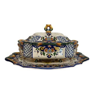 Rouen France Tureen and Platter - Set of 2 For Sale