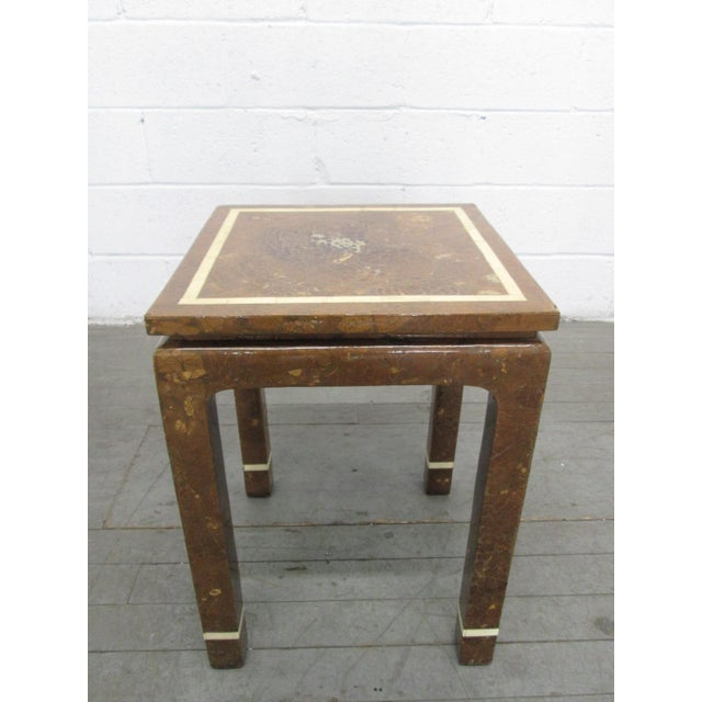 Shell Coconut Shell and Bone Inlaid Side Table For Sale - Image 7 of 7