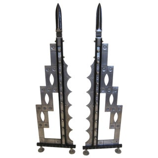 Art Deco Revival Handcrafted Iron and Steel Andirons - a Pair For Sale