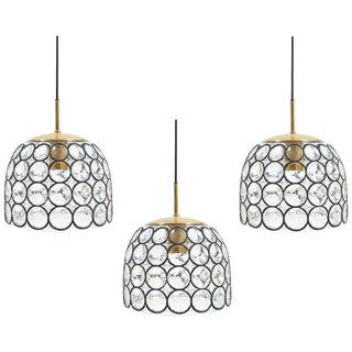 Glashütte Limburg Set of Three Large Midcentury Iron and Glass Pendant Lamps For Sale