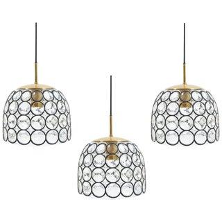 Glashütte Limburg Set of Three Large Midcentury Iron and Glass Pendant Lamps For Sale
