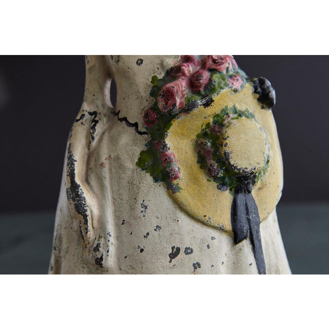 19th Century Cast Iron Hand Painted Polychrome Woman With Straw Hat Doorstop For Sale In New York - Image 6 of 9