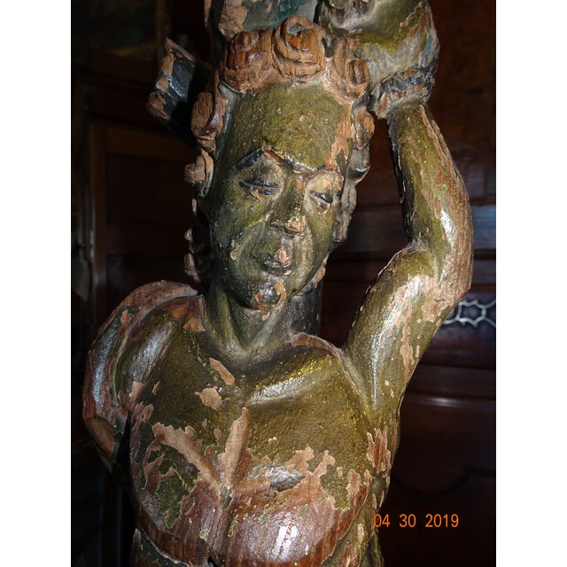 17th Century Italian Carved Wood Statue For Sale - Image 5 of 11