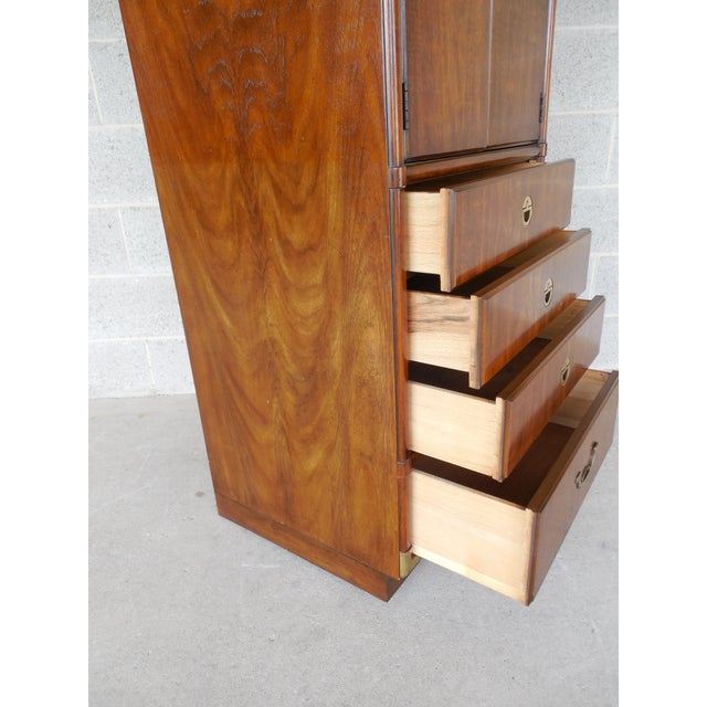 Brown Drexel Heritage Accolade Campaign Style Armoire For Sale - Image 8 of 11