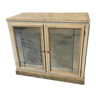 Antique Italian Painted Mirrored Console Buffet Cabinet For Sale