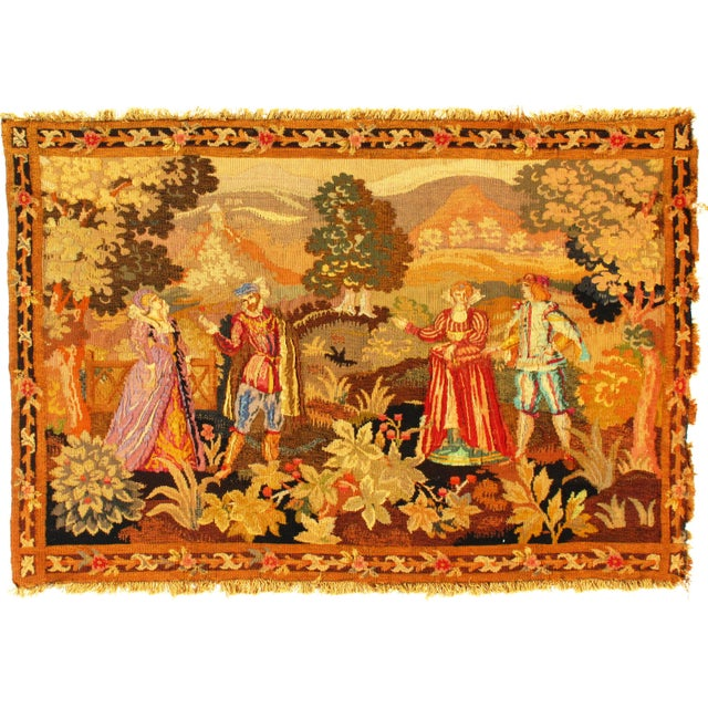 Late 19th Century Late 19th Century Antique French Floral Tapestry - 3′4″ × 5′ For Sale - Image 5 of 5