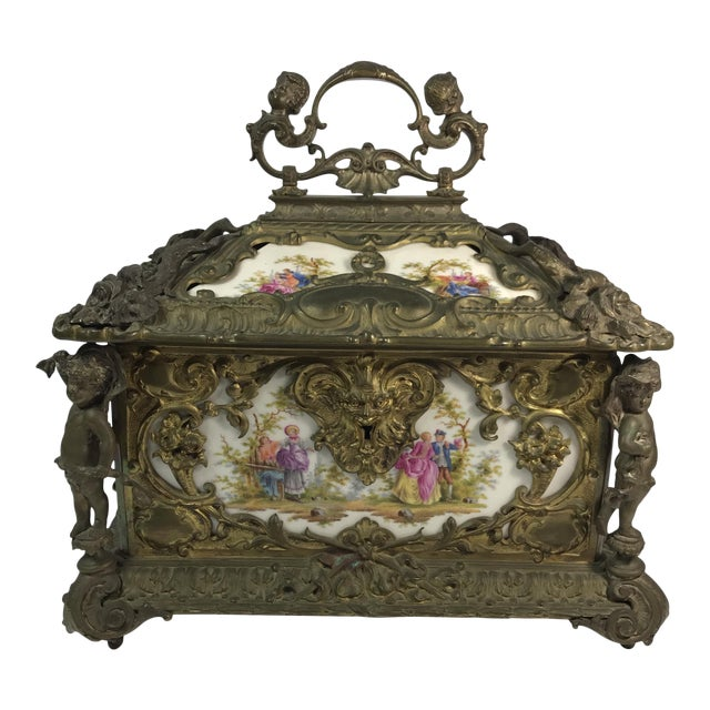 Victorian KPM Porcelain & Gilded Bronze Jewelry Box For Sale