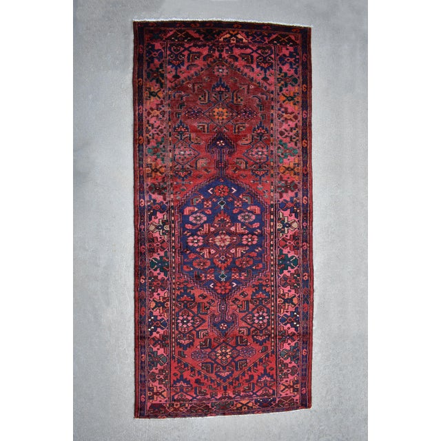 "Textile Vintage 1940s Persian Geometric Kurdish Juff Handwoven Wool Rug - 3'9"" X8'4"" For Sale - Image 7 of 7"