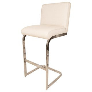 Angular Nickel Upholstered Bar Stool For Sale