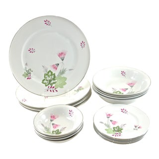 Pink Bavarian Dinner Service - Set of 16