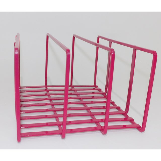 1980s Pink Metal Vinyl Record Holder Book Stand For Sale - Image 4 of 7