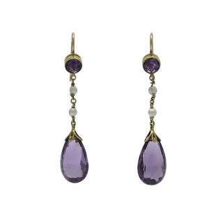 Vintage 14k Gold Amethyst Seed Pearl Earrings For Sale