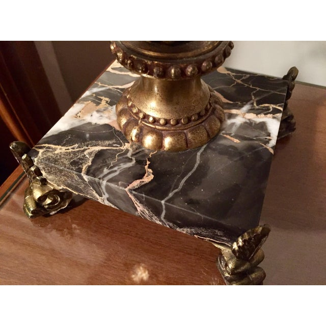 Italian Hollywood Regency Gilt Tole, Marble & Crystal Table Lamps For Sale - Image 10 of 10