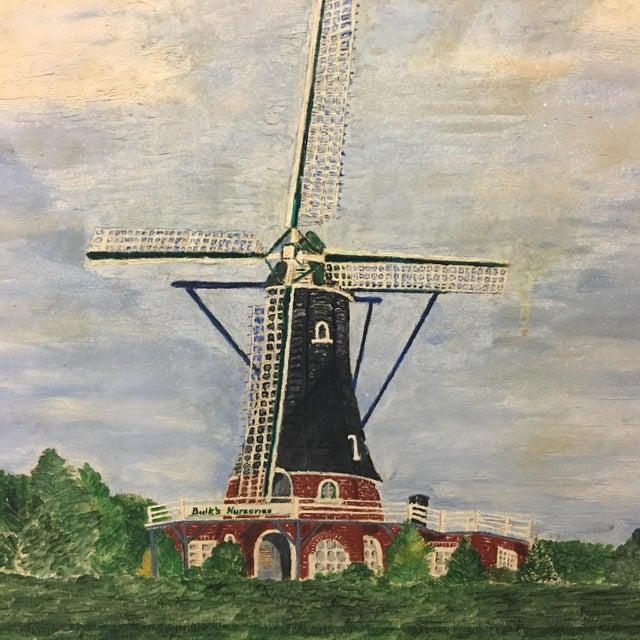 Vintage Mid-Century East Coast Windmill Landscape Painting For Sale - Image 4 of 13