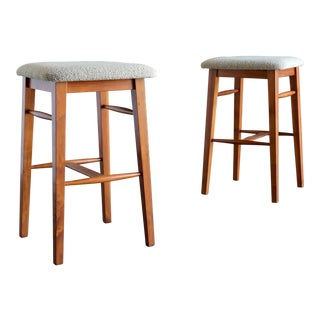 Mid Century Kipp Stewart for Glenn of California Pepe Mendoza Walnut Stools - a Pair For Sale
