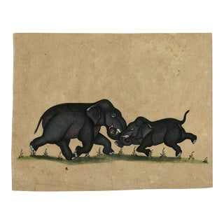 Watercolor Painting of Indian Elephants From Early 20th Century For Sale