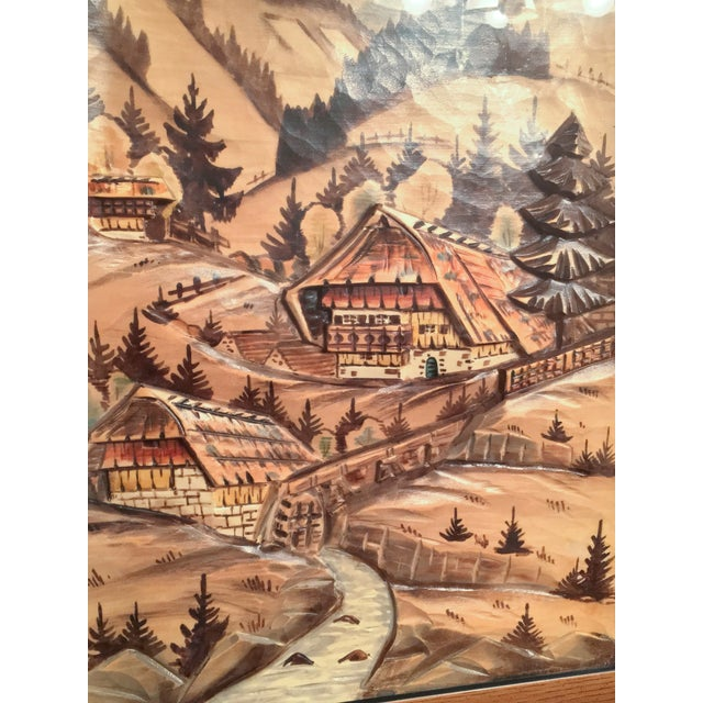 3-Piece Painted Wood Relief Mountain Diorama - Image 4 of 8