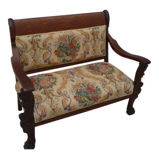 Late 19th Century Antique Lion's Head Oak Loveseat For Sale