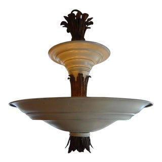 Period French Art Deco Tole and Bronze Chandelier For Sale