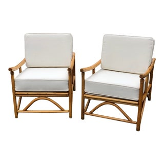 Vintage Mid Century Boho Chic Bamboo Lounge Chairs- a Pair For Sale