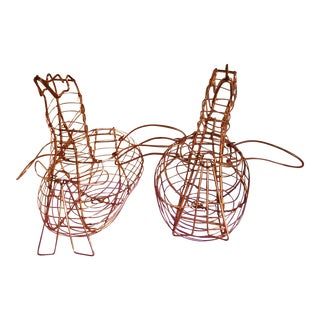 Vintage Copper Bird Shaped Wire Egg or Fruit Baskets - a Pair For Sale