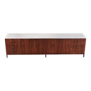 1960s Florence Knoll Book-Matched Walnut Buffet With Calacatta Gold Marble Top For Sale
